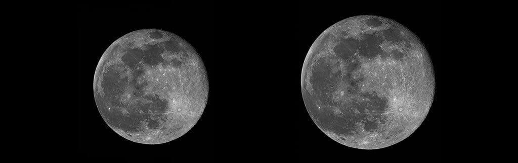 Luna en perigeo y apogeo